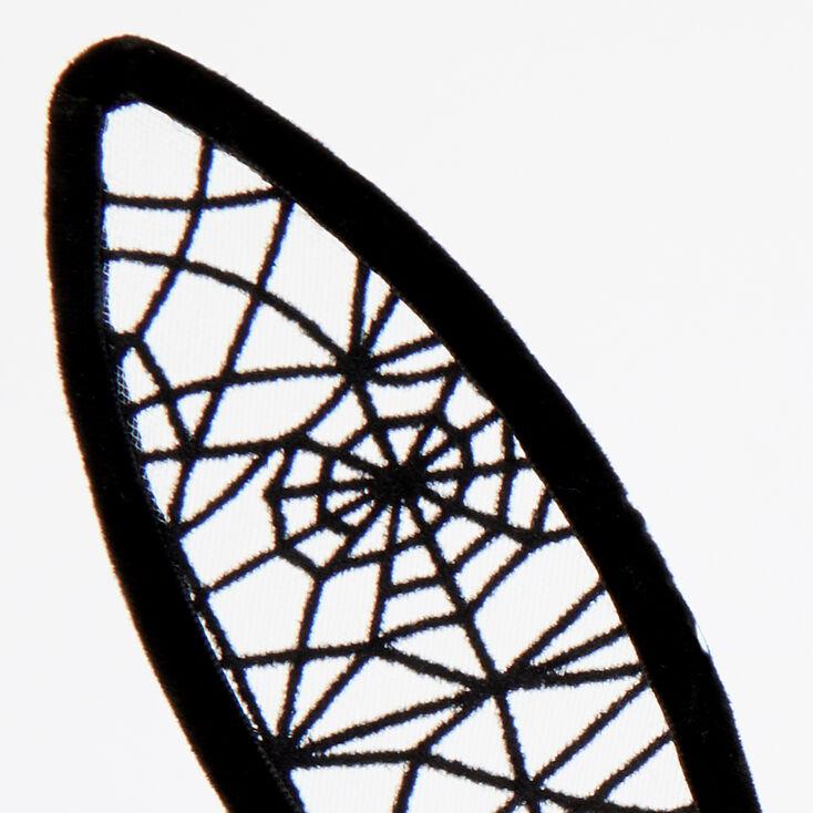 Spiderweb Bunny Ears Headband - Black,