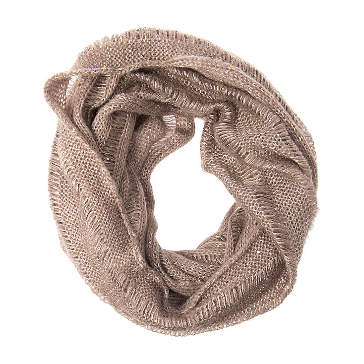 Light Brown Open Knit Infinity Scarf with Silver Sequins,