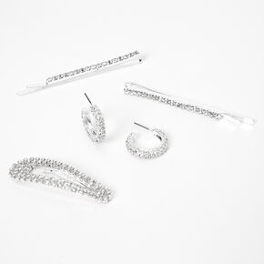 Silver Rhinestone Hair Pins, Snap Clip, & Earring Set,