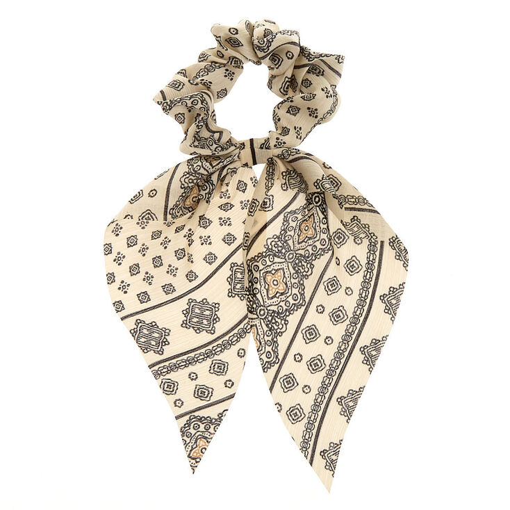 Small Black & White Paisley Hair Scrunchie Scarf,