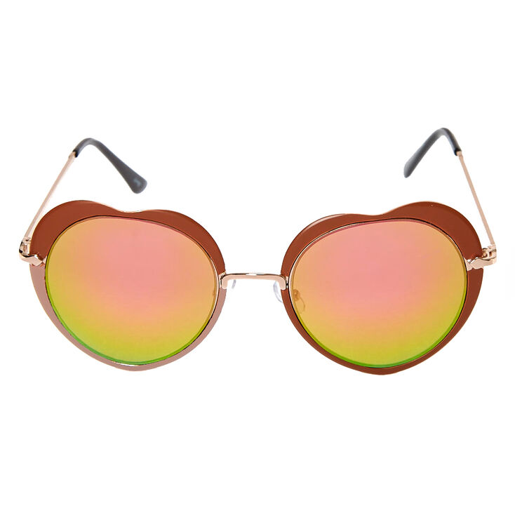 Bronze Heart Sunglasses with Round Lenses,