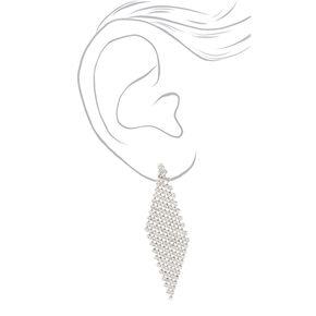 """Silver 2.5"""" Rhinestone Clip On Drop Earrings,"""