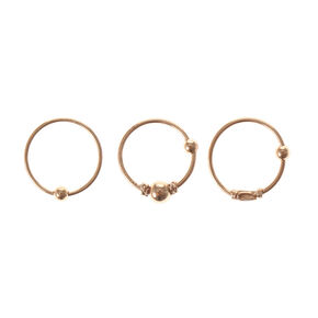 Rose Gold Sterling Silver Cartilage Hoop Earrings - 3 Pack,