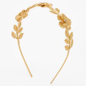 Gold Glam Rhinestone Flower Headband,
