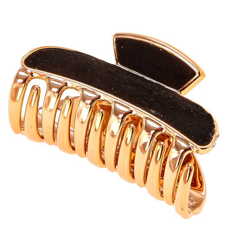 Small Rose Gold And Black Hair Claw,