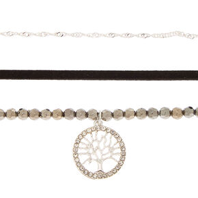 Silver Bead Tree of Life Choker Necklaces - 3 Pack,