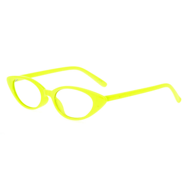 Cat Eye Clear Lens Frames - Yellow,