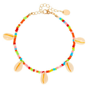 Neon Rainbow Beaded Cowrie Shell Anklet,