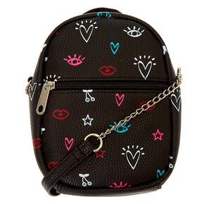 Icon Mini Backpack Crossbody Bag - Black,
