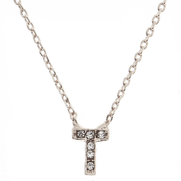 """Silver Studded """"T"""" Initial Necklace,"""