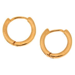 18kt Gold Plated 12MM Huggie Hoop Earrings,