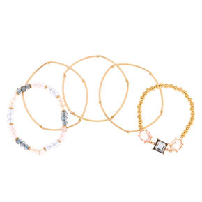 Gold Pastel Shine Stretch Bracelets - 5 Pack,