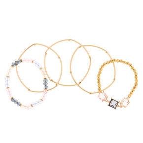 Gold Pastel Shine Stretch Bracelets - 5 Pack,