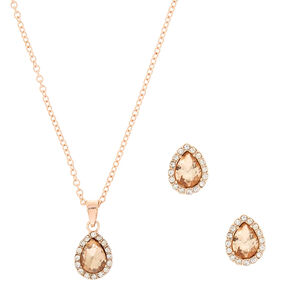 Rose Gold Teardrop Pave Jewelry Set - 2 Pack,