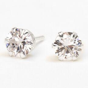 Sterling Silver Cubic Zirconia Round Cupcake Stud Earrings - 7MM,
