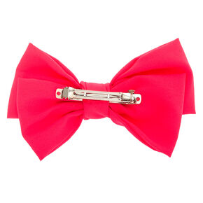 Large Hair Bow Clip - Neon Pink,