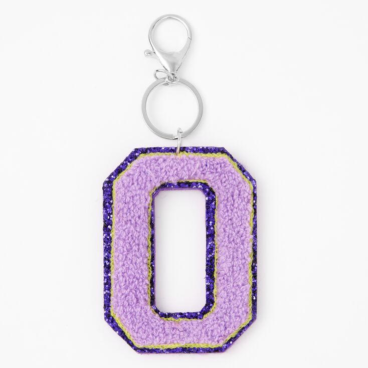 Purple Varsity Initial Keychain - O,