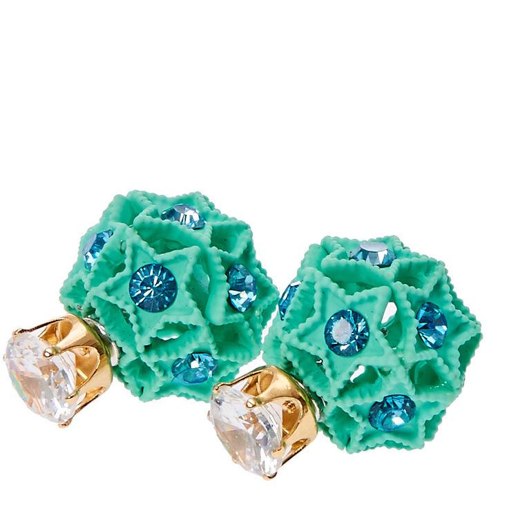 Crystal & Mint Stars Front & Back Stud Earrings,