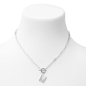 Silver Initial Toggle Chain Link Pendant Necklace - M,