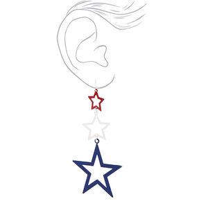 """3.5"""" Multi Star Drop Earrings,"""