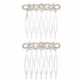 Infinity Glass Stone Hair Comb - 2 Pack,