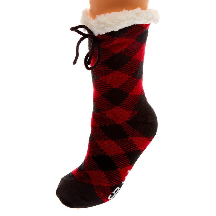 Dear Santa Bring Wine Slipper Socks - Red,