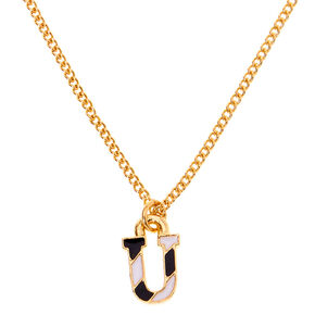 Gold Striped Initial Pendant Necklace - U,