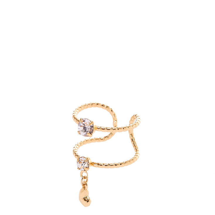 Double Banded Gold Heart Charm Ring,