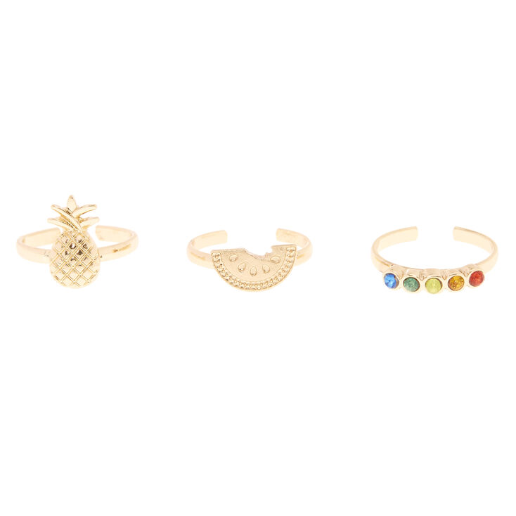 Tropical Fruit Gold Toe Ring Set,