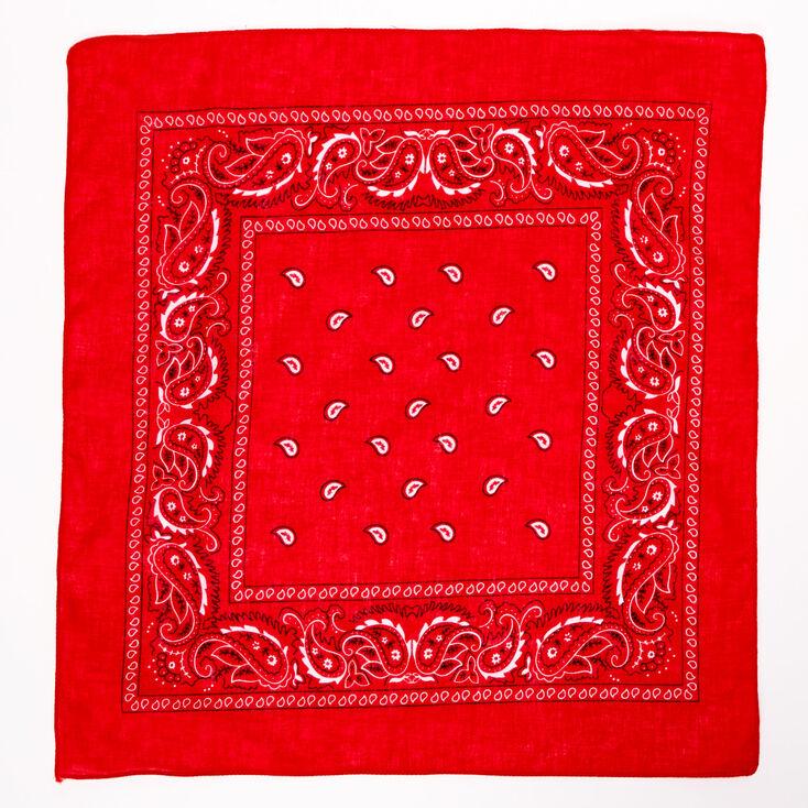 Paisley Print Bandana Headwrap - Red,