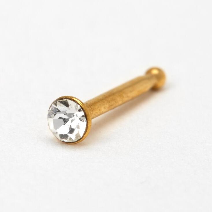 Gold 20G Crystal Nose Stud,