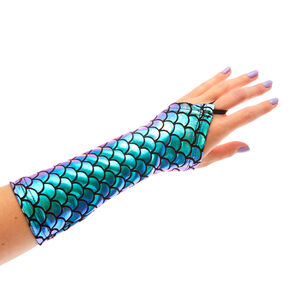 Holographic Mermaid Fingerless Gloves,
