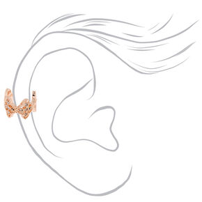 Rose Gold Lace Clover Ear Cuff Earring,
