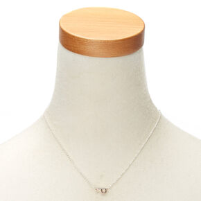 Mixed Metal Sideways Initial Pendant Necklace - P,