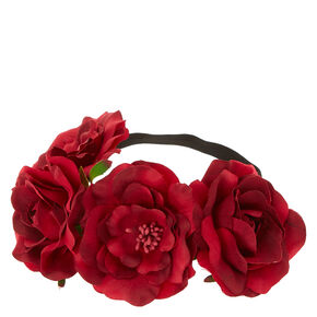 Oversized Burgundy Rose Flower Crown Headwrap,