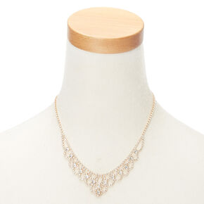 Gold Glass Rhinestone Scalloped Jewelry Set - 2 Pack,