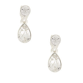 Silver Teardrop Crystal Drop Earrings,