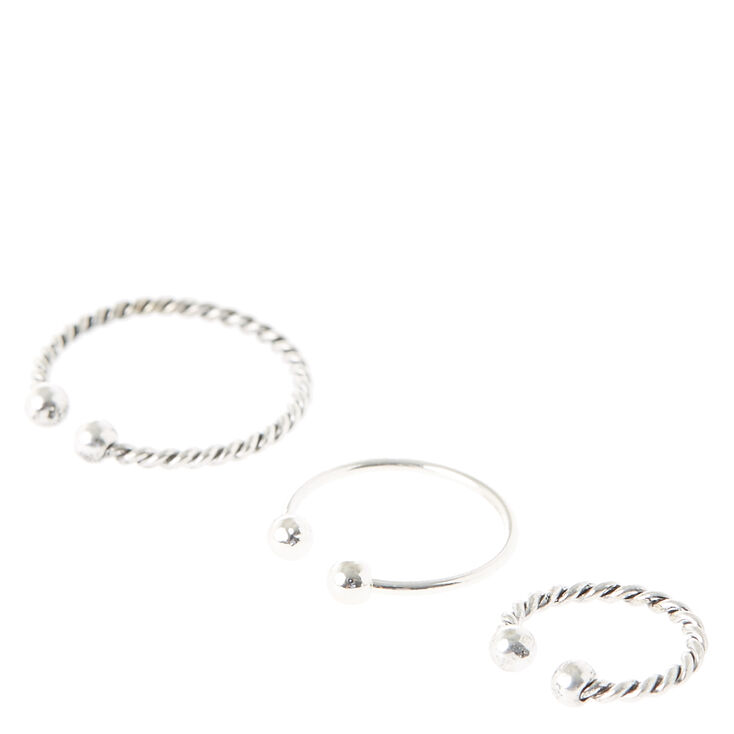 Textured Silver Faux Nose Hoops,