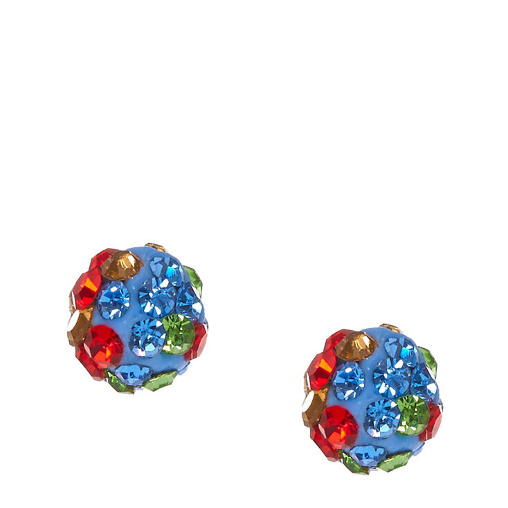 Multi- Tone Gray Fireball Stud Earrings,