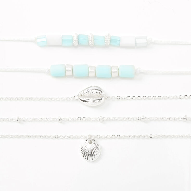 Silver Tropical Seashell Mixed Bracelets - Mint, 5 Pack,