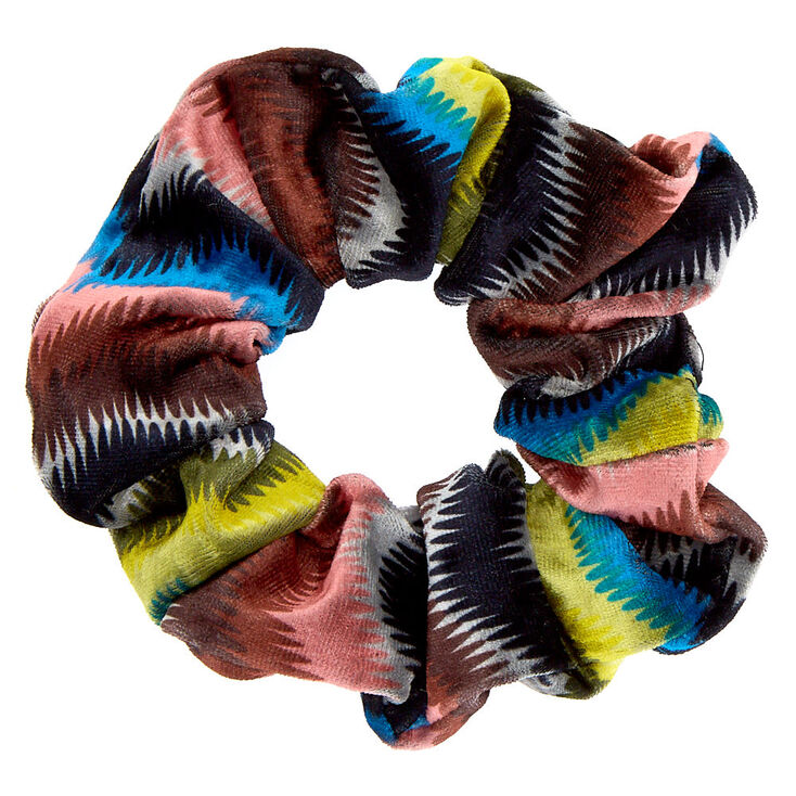Medium Rainbow Chevron Velvet Hair Scrunchie,
