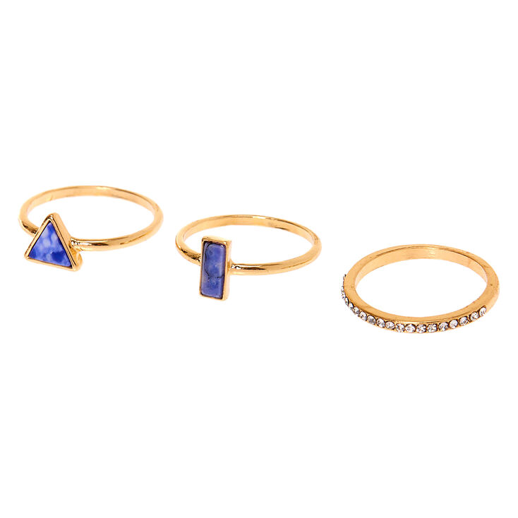 Gold Stone Rings - Blue, 3 Pack,