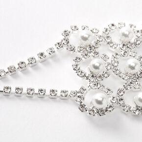 Silver Rhinestone Peekaboo Bubble Pearl Chain Bracelet,