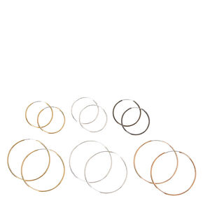 Mixed Metal Skinny Hoop Earrings - 6 Pack,