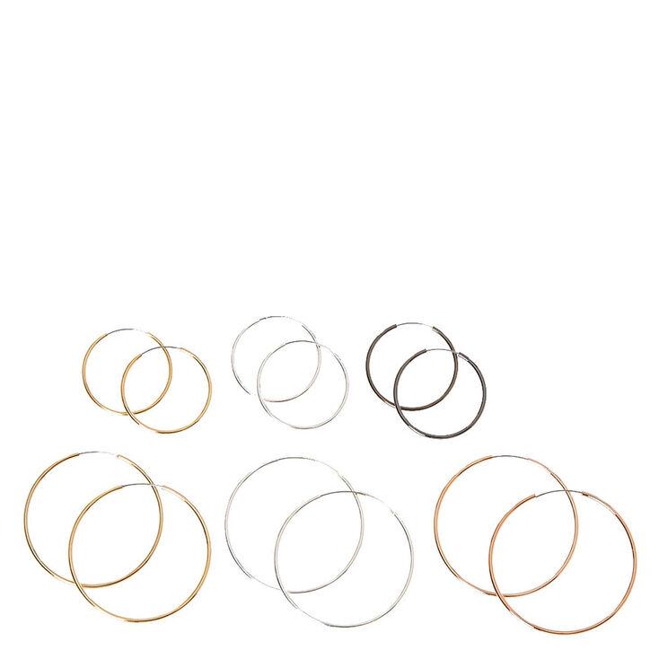 Mixed Metal Skinny Hoop Earrings - 6 Pack,