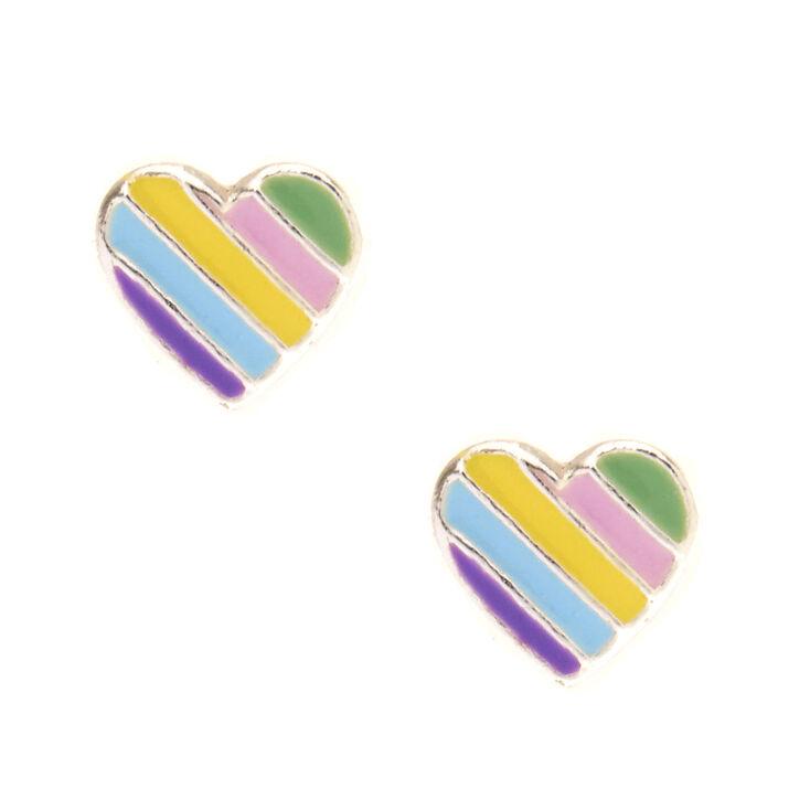 925 Sterling Silver Pastel Heart Stud Earrings,