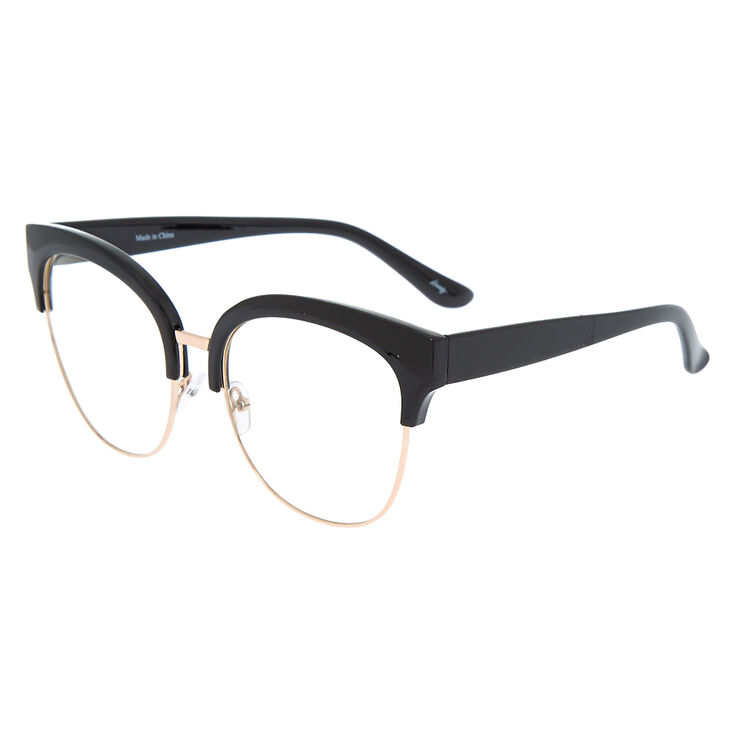 Oversized Browline Clear Lens Frames - Black,