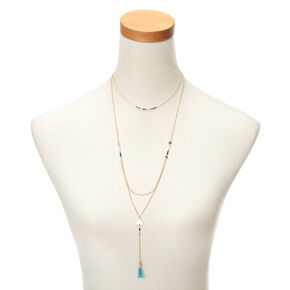 Gold Boho Beaded Multi Strand Necklace,
