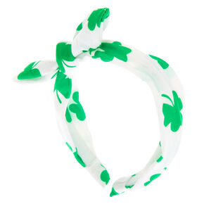 Shamrock Knotted Bow Headband - White,