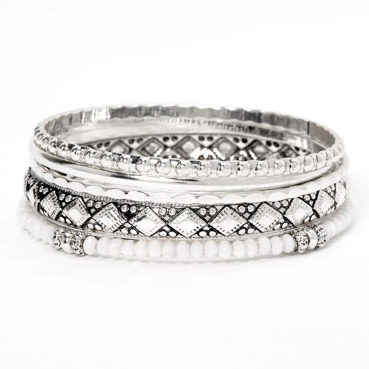 Silver Festival Beaded Bangle Bracelets - 5 Pack,